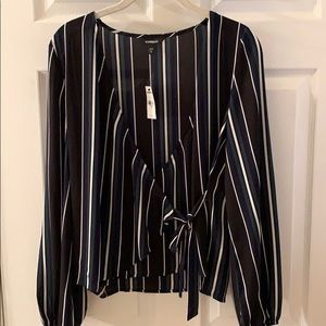 Brand new black striped tie front Express blouse